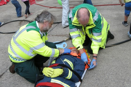 Ambulance service in action at Evesham fire station open day