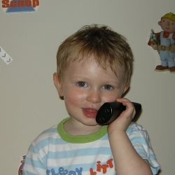 Young boy making an emergency 999 call