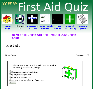 First Aid Quiz website - training information