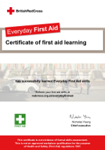 Everyday first aid certificate from the red cross