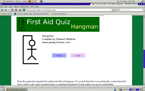 Screenshot - First Aid Hangman, on first aid quiz.com - running in firefox on Ubuntu Linux